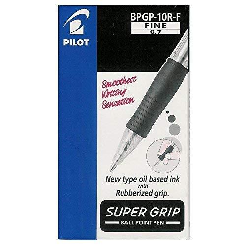 Pilot BPGB-10R-F Supergrip Penna a sfera a scatto, Nero, Punta 0.7 mm, Pacco da 12