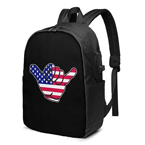 Lawenp Mochila para portátil con Bandera Americana, Signo de la Paz, EE.UU, con Puerto de Carga USB, Bolsa de Negocios, Mochila | Se Adapta a la mayoría de portátiles y tabletas de 17 Pulgadas