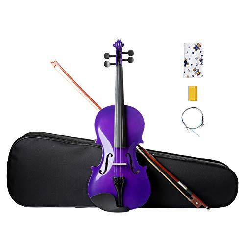 ARTALL 4/4 Handmade Student Acoustic Violin Beginner Pack with Bow, Hard Case, Chin Rest, Spare Strings, Rosin and Bridge, Glossy Purple