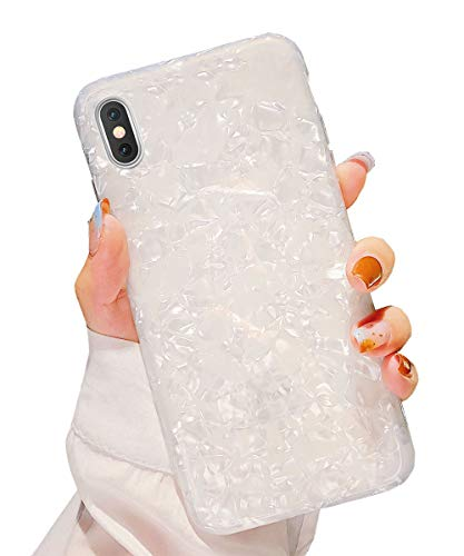 Dailylux iPhone Xs Case,iPhone X Case Cute Phone Case for Girls Women Glitter Pretty Design Protective Slim Shockproof Pearly-Lustre Shell Bumper Soft Silicone TPU Cover for iPhone X/Xs 5.8 inch,White