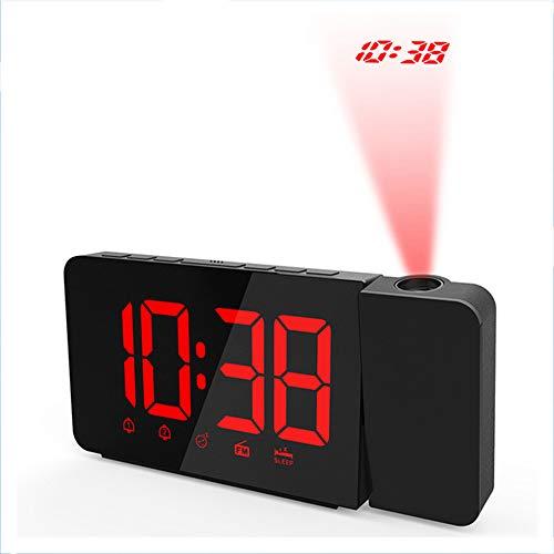 ZHANG wekker met projectie, projectiewekker, projectieklok, digitale wekker, reiswekker, 5 inch LED-display, 3 helderheid, grote rode cijfers, snooze, USB-aansluiting, 120 graden draai-projector, B