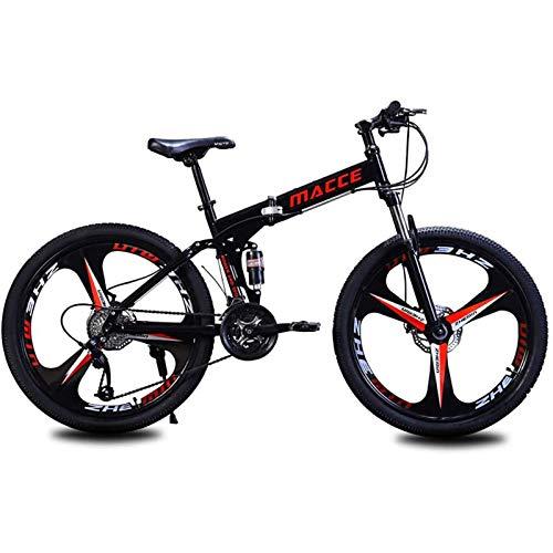 PLAYH Mountain Bike Pieghevoli per Adulti, Biciclette con Freno A Disco A Doppio Assorbimento degli Urti in Acciaio al Carbonio, Bicicletta Elettrica A velocità Variabile (Color : A)
