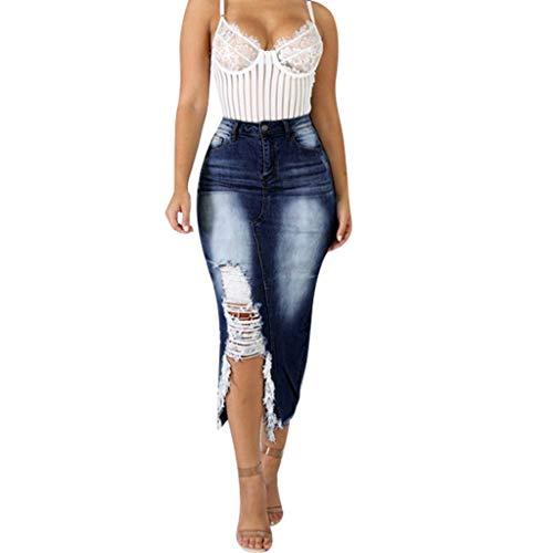 VEZAD Women High Waist Ripped Destroyed Bodycon Street Style Denim Skirt S-5XL
