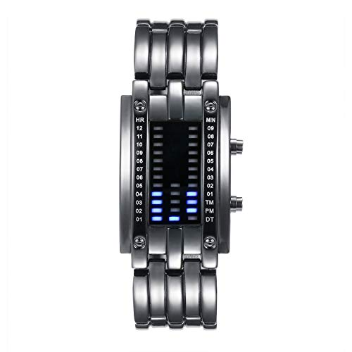 Lancardo Orologio doppia linea binario tempo visualizzazione data alla Moda a LED Display Rettangolare Cassa Cinturino in Lega Argento da Uomo Donna