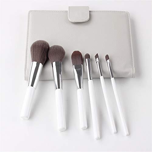 BABIFIS Pinceau de Maquillage Set, 6 Charbon de Bambou Fibre maquillages Professionnels débutants Pinceau PU Sac débutants