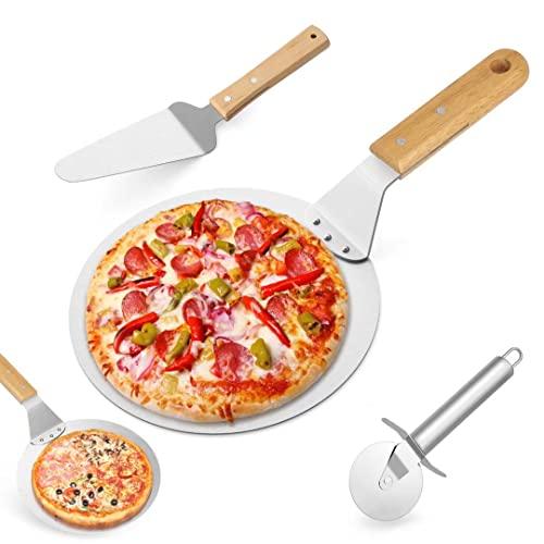 3 Attrezzi per Pizza e da Forno, taglierino, Pala e palino in Acciaio Inossidabile, con Manico in Legno, per cuocere Pizza e Torte su Forno e Grill, Colore: Argento