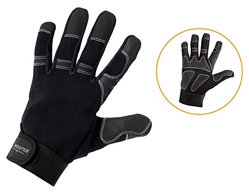 Stagecaptain Rigger Handschuhe - Arbeitshandschuhe für Herren - mit langen Fingern und innenfläche aus Kunstleder - Aufgesetzte Verstärkungen - Schwarz/Grau