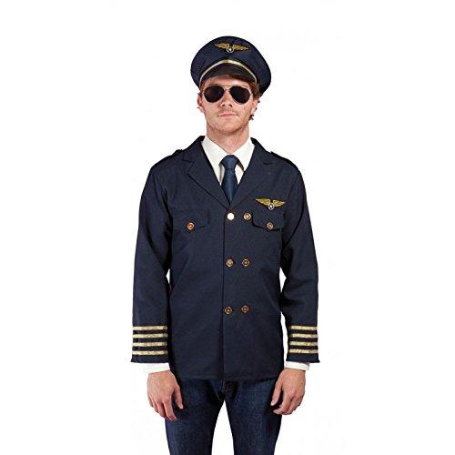 P'tit Clown 28052 Déguisement Adulte Pilote de l'Air - Taille Unique - Bleu