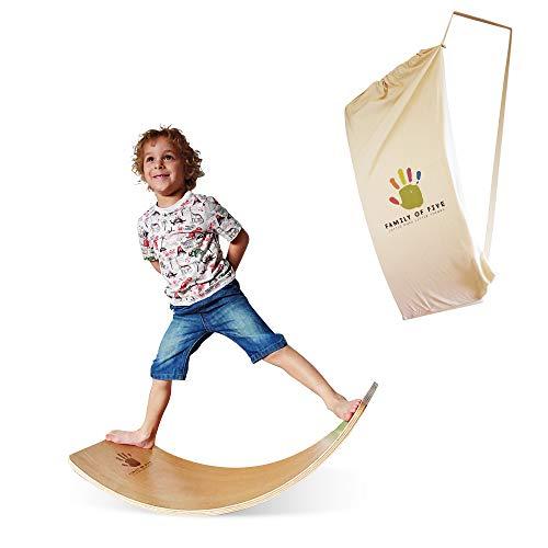 Family Of Five Oak Balance Board - The Premium Kids Montessori Wooden Wobble Board With A Multipurpose Bag
