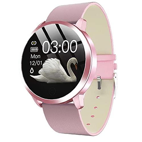 Relojes inteligentes, Q8 pulsera inteligente impermeable con cuero de prueba del ritmo cardíaco de la correa del contador de paso del ciclo menstrual de la mujer rosada batería de larga duración