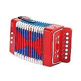 LGYKUMEG Mini didattico Fisarmonica per la spigola con 7 Pulsanti per Bambini Giocattolo dello Strumento Ritmica Strumenti Musicali Esercizio,Rosso