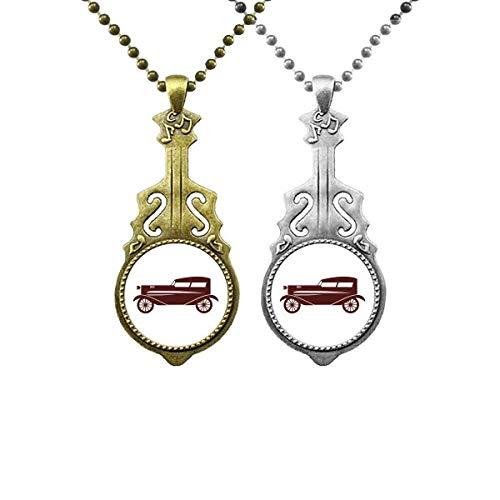 Collar con colgante geométrico de coches clásicos con diseño de guitarra musical, color marrón