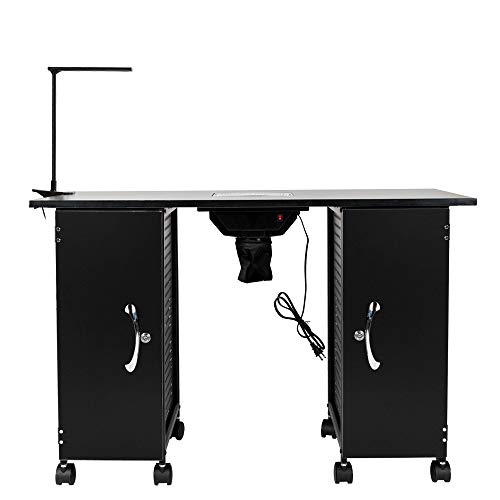 HomVent Manicure Nail Table Station, Nail Beauty Spa Salon Desk Workstation with Electric Downdraft Vent, Professional Nail Art Manicure Table with 2 Large Cabinets, LED Lamp, Wrist Rest
