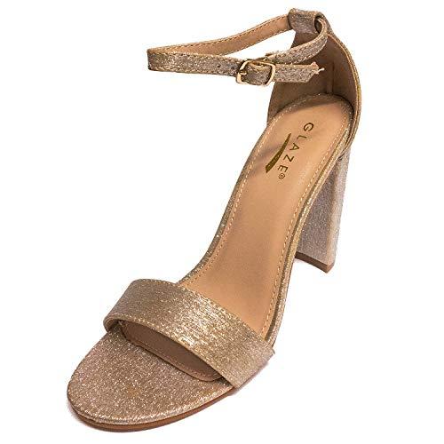 Glaze Women's Lily-1X Strappy Block High Heel Sandal (Gold Shiny, 7 M US)