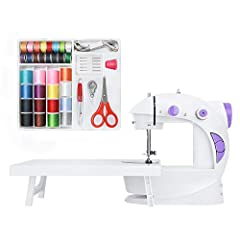 【Sewing Kit】It includes 32 bobbins, a scissor, 5 needles, a threader, a thimble and a seam ripper. This sewing kit is compatible to 201 sewing machine and provides more choices of thread in colors. 【Beginner-friendly】Equipped with only one straight s...