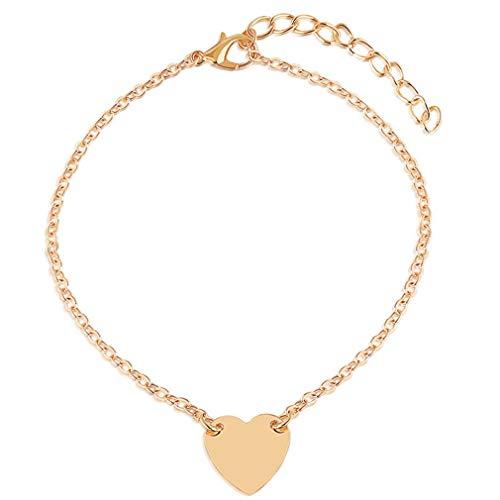 Tobillera para mujer, cadena de perlas vintage, tobillera resistente al agua, también como pulsera, joyería para mujeres con pequeño corazón en plata y oro, cierre para niñas