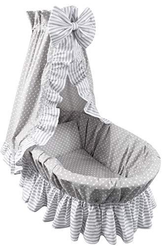 Amilian 9tlg Textile Ausstattung für STUBENWAGEN mit Himmelstange Bollerwagen Himmel Matratze Baby Bettwäsche für Kinderzimmer Design: Pünktchen KLEIN Grau/Streifen Grau