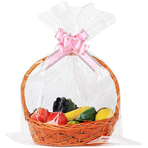 UltraOutlet 50 Packs Large Cellophane Wrap 24 x 30 Clear Cellophane Gift Basket Bags 2.3 Mil Thick Clear Cello Bags for Fruit Basket, Gift Wrap, Treats, Arts and Crafts, 50ct Ribbon Bows