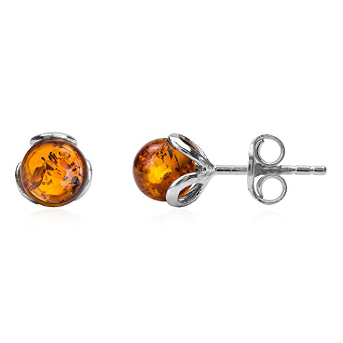 Baltic Honey Amber Sterling Silver Art Deco Small Stud Earrings