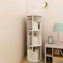 3 Tiers Versatile Round Wooden Rotating Swivel Bookshelf Bookcase Cabinet White 97CM