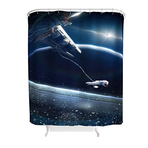 Bestwe Weltraumastronaut umweltfre&lich Duschvorhang-Set Polyestergewebe mit verstärkten Knopflöchern & Haken für Kinder Badezimmer Maschinenwaschbar White 150x200cm