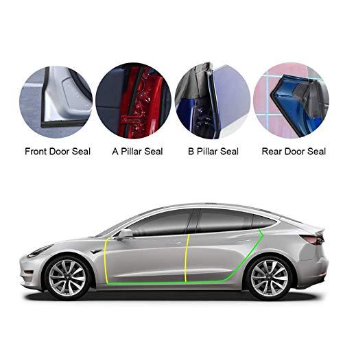 BASENOR Tesla Model 3 Model S Durch Dichtung Bausatz Schalldicht Gummi Wetter Luftzug Dichtung Streifen Wind Geräusch Reduktion Bausatz 2021 2020 2019