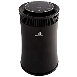 small Silver Onyx home air purifier with HEPA filter, air quality monitor, UV disinfectant and more.
