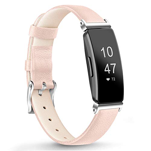 Vancle Kompatibel für Fitbit Inspire HR Armband/Fitbit Inspire Armband, Weiches Lederarmband Echt Leder Ersatzarmband für Fitbit Inspire/Inspire HR (Rosa)