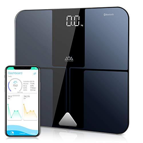Báscula Grasa Corporal, SENSSUN Báscula Profesional Bluetooth Compatible, Máxima composición del cuerpo de carga. 180 kg, Disponible para 15 Usuarios, Per IOS e Android (Black)