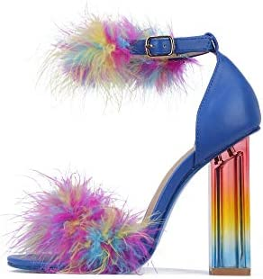 High heels with feathers