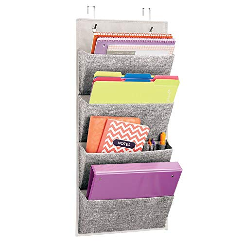 mDesign Soft Fabric Wall Mount Over Door Hanging Storage Organizer - 4 Large Cascading Pockets - Holds Office Supplies Planners File Folders Notebooks - Textured Print - Charcoal Gray