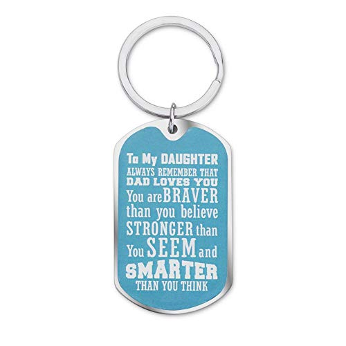 Daughter Keychain Inspirational Gifts for Women Teenage Girls from Mom Dad to Daughter Birthday Graduation Always Remember You are Braver Key Ring Motivational Wedding Gifts for Her