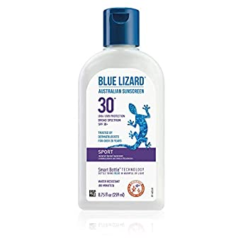 BLUE LIZARD Sport Mineral Sunscreen with Zinc Oxide SPF 30+ Water/Sweat Resistant UVA/UVB Protection with Smart Bottle Technology - Fragrance Free Unscented 8.75 Fl Oz