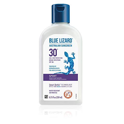 Blue Lizard Sport Mineral Sunscreen with Zinc Oxide SPF 30 Water/Sweat Resistant UVA/UVB Protection with Smart Bottle Technology  Fragrance Free 875 oz