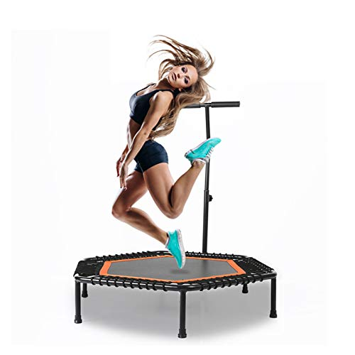 Ycrdtap 44' Hexagon Trampoline, Sports Trampoline with Stable Handle Bar And Rope Suspension, 5 Gears Adjust(103Cm-123Cm) for Home, Garden, Gym