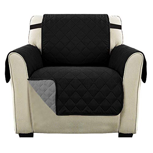 Reversible 1 Seater Chair Sofa Slipcover, Reversible Quilted Furniture Protector with 2' Elastic Strap, Sitting Width Up to 21', Washable Chair Cover Protect for Pets (Chair, Black/Gray)
