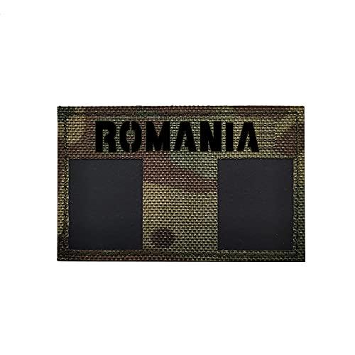 Rumänien Nationalflagge Patch Infrarot Reflektierend IR Taktisch Militär bestickt Abzeichen Emblem Morale Applikationen Patches Kleidung Zubehör Rucksack Armband