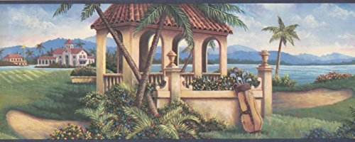 Golf Course by The Lake Clubhouse Dark Grey Trim HV6031B Wallpaper Border