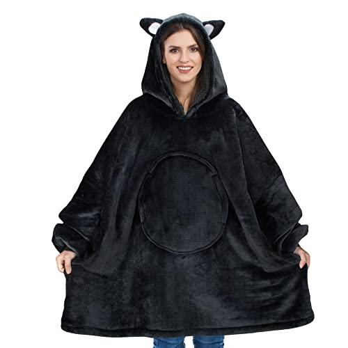 Catalonia 着る毛布 ポンチョ かわいい 猫耳フード付き もこもこ パーカー 冬 ガウン 可愛い 着ぐるみ 着るブランケット 防寒 ガウン 部屋着 ルームウェア レディース メンズ Mサイズ(着丈96cm)猫