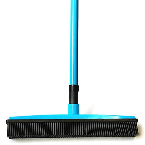 SAIrch Adjustable Silicone Bristle Push Broom Carpet Rake Squeegee,Human and Pet Hair Remover, Adjustable rubber Bristles Sweeper Squeegee for Pet Cat Dog Hair Carpet