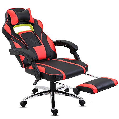 Hadwin Gaming Chair Office Desk Chair Racing Chair Reclining Leather Computer Chair Swivel Office Chair with Footrest, Adjustable Headrest and Lumbar Support,Red