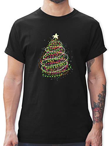 Weihnachten & Silvester - Abstrakter Weihnachtsbaum - S - Schwarz - Abstrakter Weihnachtsbaum - L190 - Tshirt Herren und Männer T-Shirts