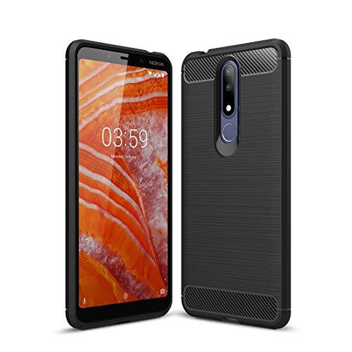 YUNCHAO Caso del teléfono Nokia Funda de TPU a Prueba de Golpes con Textura de Fibra de Carbono for Nokia 3.1Plus / X3 (Negro) Caja del teléfono Celular (Color : Black)