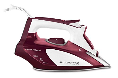 Rowenta DW5081 1725-Watt Micro Steam Iron Stainless Steel Soleplate with Auto-Off, 400-Hole, Red