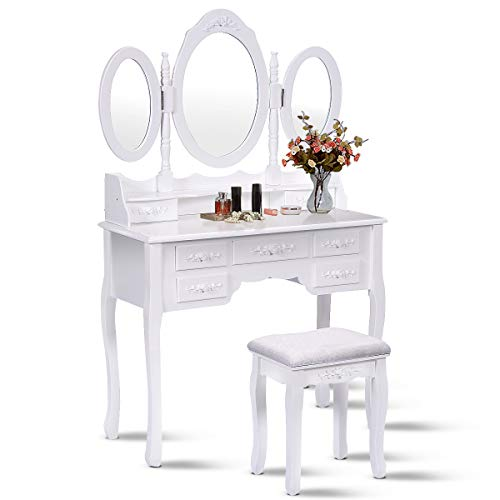 Giantex Tri Folding Oval Mirror Wood Bathroom Vanity Makeup Table Set with Stool &7 Drawers (White)