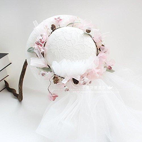 XPY&DGX Bridal Hochzeit Ballsaal Haarnadel Haarschmuck,Brauthut-Haarzusätze des romantischen Tiara-Brauthutes, die weiße Garnhochzeitsschmucksachefoto-Schmucksachen, rosafarbener Hut mit Garn Folgen