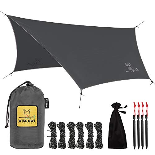 Wise Owl Outfitters Rain Fly Tarp – The WiseFly Premium 11 x 9 ft Waterproof Camping Shelter Canopy – Lightweight Easy Setup for Hammock or Tent Camp Gear – Charcoal Grey & Light Grey