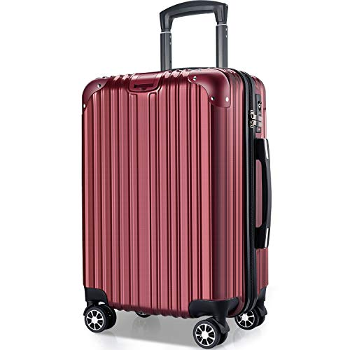 VARNIC スーツケース キャリーバッグ キャリーケース 機内持込 超軽量 大型 静音 ダブルキャスター 耐衝撃 360度回転 TSAローク搭載 ファスナー式 旅行 ビジネス 出張 (M サイズ(65L), 赤)