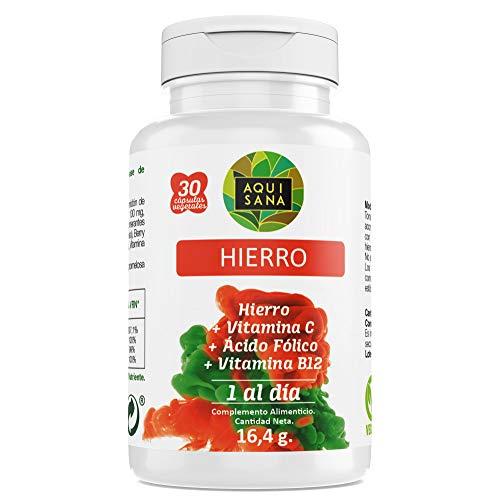 Hierro con Ácido Fólico | Suplemento de Hierro con Vitamina C y Vitamina B12 | Mayor vitalidad y Energía |Para Hombres y Mujeres |30 Cápsulas – Aquisana