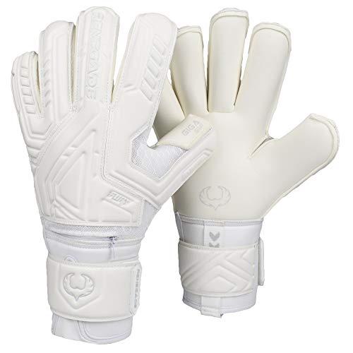 Renegade GK Fury Avalanche Goalie Gloves with Pro-Tek Finger Spines | 4mm Giga Grip & 4mm Duratek | White Soccer Goalkeeper Gloves (Size 7, Youth, Roll Cut, Level 4)